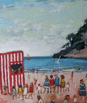 Simeon Stafford Original Oil Painting The Punch And Judy Show